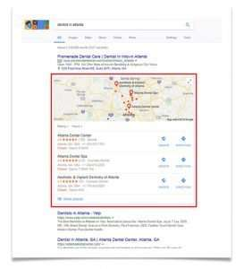 """Google Snack Pack Map Listing - for search """"dentist in atlanta"""""""